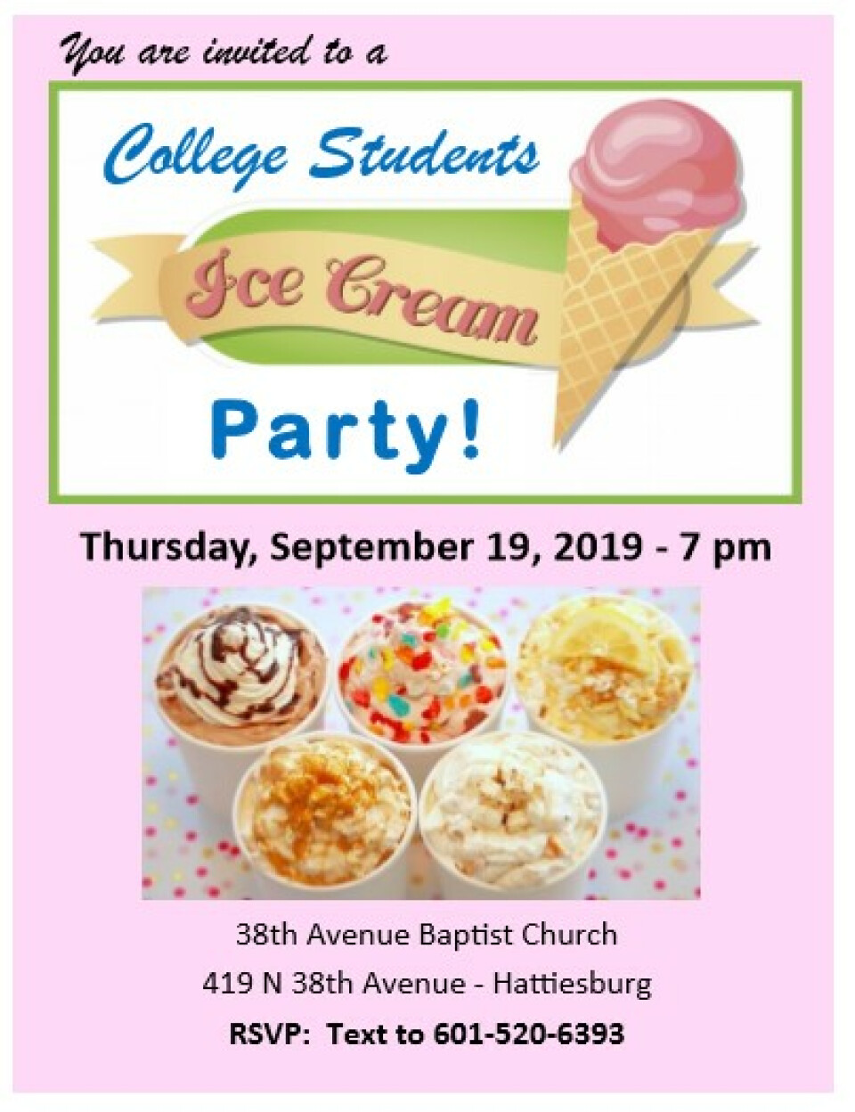 College Students Ice Cream Social